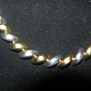 Lovely Italian Two Tone Sterling Macaroni Link Necklace