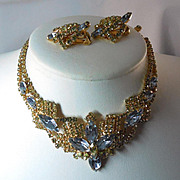 Gorgeous Lavender Blue Chartreuse Necklace and Earrings Signed Rifas