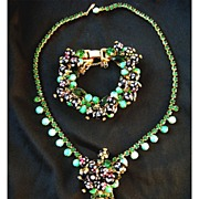 Juliana D&E Hand Painted Polka Dot Necklace and Bracelet