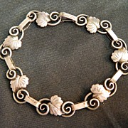 Denmark Silver Arts And Crafts Era Leaf Bracelet Marked 830S and Signed SK