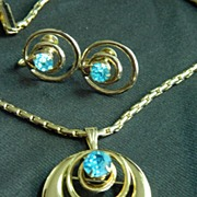 Mid Century Modern Goldtone and Aqua Rhinestone Earrings and Necklace Set