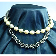 Gorgeous Miriam Haskell Faux Baroque Pearl and Chain Necklace