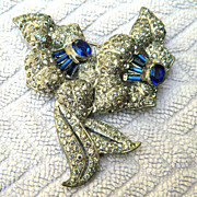 Gorgeous Deep Blue and Clear Rhinestone Flower Brooch - Pot Metal Circa 1930s