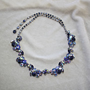 Sparkling blue AB rhinestones necklace made in Austria