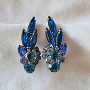D&E Juliana Capri blue navette rhinestone earrings
