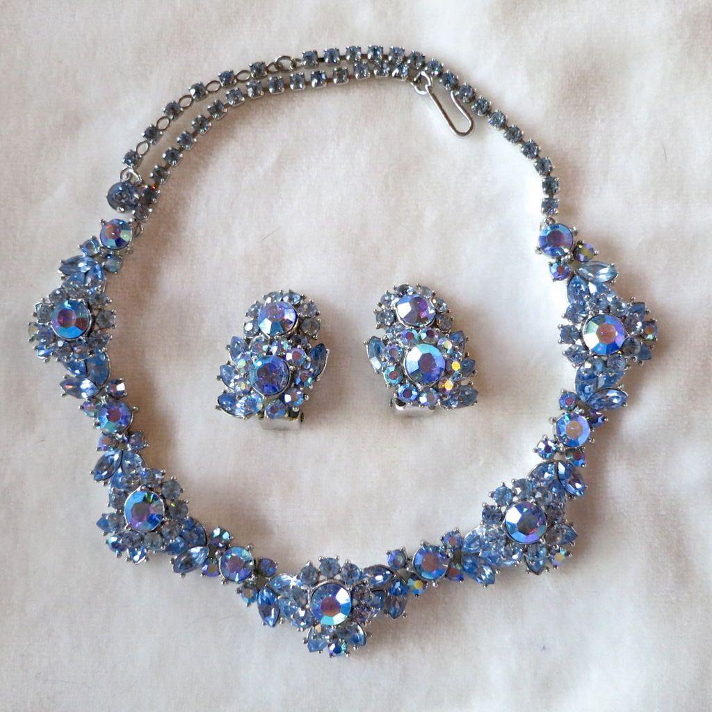trifari blue ab rhinestone necklace earrings set from