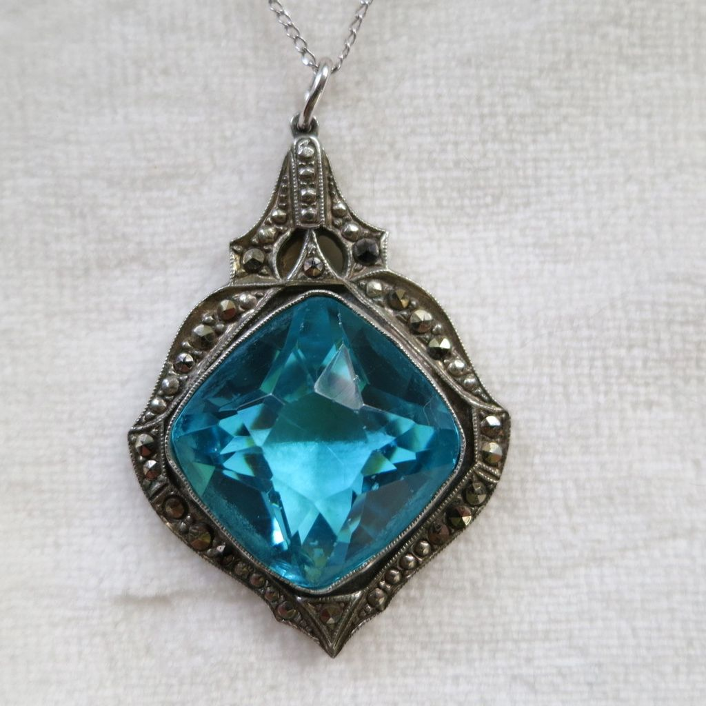 Mesmerizing Art Deco marcasite and aqua glass pendant on sterling chain