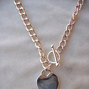 Silver Tone Heart Pendant Necklace