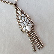 Vintage white milk glass rhinestone dangles necklace