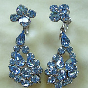 Pale blue rhinestone dangle clip earrings