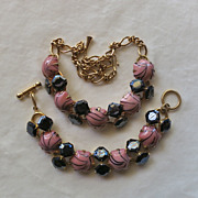 Chunky pink & black glass cabochons necklace & bracelet Juliana style