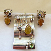 Artisan sterling silver gemstone pin pendant earrings set - modernist!
