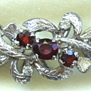 Vintage sterling silver garnet bracelet with floral design ~ small size!