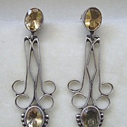 Long, graceful sterling silver & citrine dangle pierced earrings