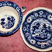 SALE Occupied Japan Cup & Saucer - Blue & White Scenic (wanedai - c. 1945)
