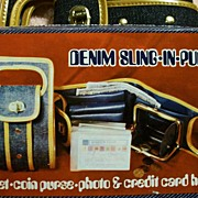 Vintage Purse (c.1973) ~ Denim Sling-In-Purse ~ Wallet-Coin Purse