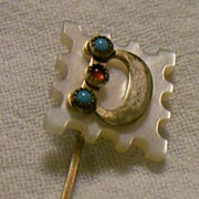 MOP Letter 'D' Stick Pin ~ Ruby bead ~ Turq. beads