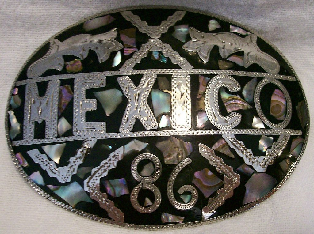 BELT BUCKLE ~ Silver w/ Abalone inlay ~ Mexico 1986