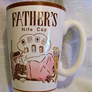 Novelty Shot Glass ~ Father's Nite Cap ~ Shot Mug ~ 1950's