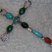 Large Sterling Silver Cross Pendant ~ RDM ~ Russell McCullough ~ Multiple Stones