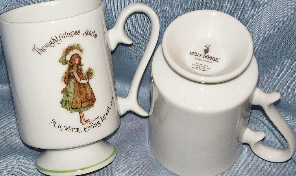 HOLLY HOBBIE Pedestal Mugs  ~ c.1974 ~ Porcelain