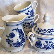 BLUE ONION Cream Sugar Cups Saucers ~  7 pieces ~ Czechoslovakia ~ c. 1991
