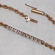 14k Yellow and White Gold and Diamond Tennis Bracelet