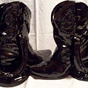 SALE FRANKOMA #133 Cowboy Boots & Horseshoes ~ Bookends & Planter or Vase ~ Onyx Black
