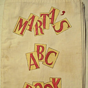 SOLD Children's ABC Book ~ Cloth ~ Hand Painted ~  c. 1954