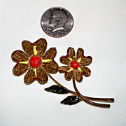 """ART"" Flower Pin ~ c. 1970's"