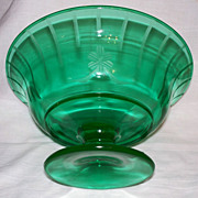 Green Depression Glass Pedestal Bowl ~Etched ~uranium glass