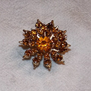 Amber colored Rhinestone Pin