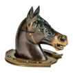 Carved Victorian Wooden Horse Head Travel Inkwell
