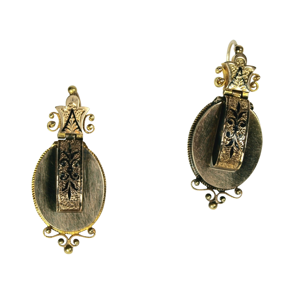 Victorian Gold and Taille d' epargne Enamel Earrings