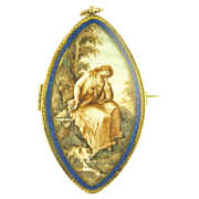 Sentimental Ivory Portrait- The Maiden Rests With Her Precious Dog at Her Feet