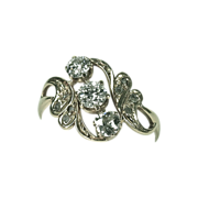 French Art Nouveau Three Diamond 18K Gold Ring
