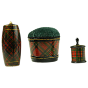 Victorian Tartan Ware Grouping - Three Items