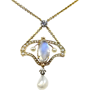 Magical Moonstone, Pearl, & Diamond Art Nouveau Necklace