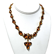 Edwardian Splendor in 18K Gold,Citrine & Pearl Necklace