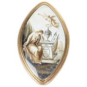 NeoClassical Mourning Miniature Painted in Sepia on Ivory