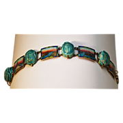 Striking Scarab & Enamel Bracelet in .900 Silver