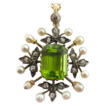 Edwardian Peridot, Pearl and Diamond Pendant