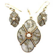 Exceptional Victorian Gold Quartz Set in 14K