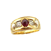 Victorian 18K Ruby, Diamond & Pearl Ring