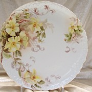 Antique Limoges France Charger Plate 'Single-Petal Wild Yellow Roses' Rococo Style