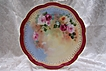 "Victorian Period Art Ware of a ""Cascading Bouquet of Historic Old Roses"" Hand-Painted on a Limoges Porcelain Plate by the Talented Artist 'NJ'."
