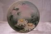 "Elegant Water Lily Floral Charger Plate Hand Painted on Antique Limoges Porcelain (12.5"" W). (Water Lilies)"