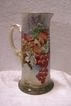 Refined Porcelain Limoges Tankard Pitcher featuring a 'Harvest of Multi-colored Grapes- Green, Gold, Purple(Black), and Red' entirely handpainted in the late 19th Century