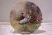 Amazingly Detailed Limoges France Courting Couple Portrait Charger Plaque with Rococo Carved Border (Tray)- Entirely Hand Painted- Not a Transfer