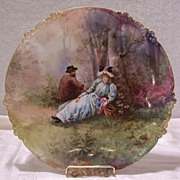 SALE Amazingly Detailed Limoges France Courting Couple Portrait Charger Plaque with Rococo Car